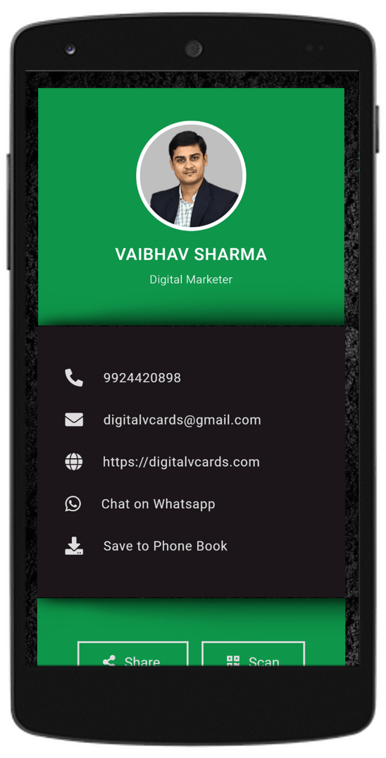 Green 3d Digital vCard